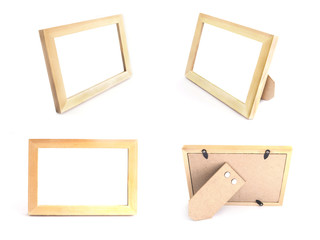 wooden picture frames natural color for standing on table over white background