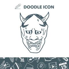 Japan ghost mask doodle