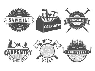 Woodwork logos. Vector badges for carpentry, sawmill, lumberjack service or woodwork shop. Set of vintage labels with hand tools