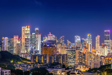 Singapore cityscape at night and business downtown.