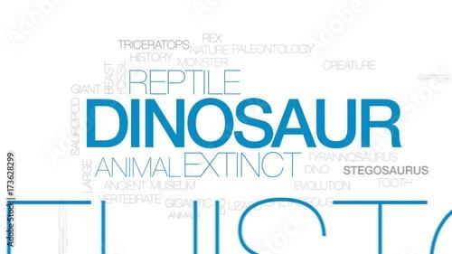 Dinosaur animated word cloud, text design animation. Kinetic typography.