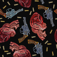 Embroidery guns and anatomical hearts. Creative fashion embroidery wild West, gangster background, vintage revolvers and red anatomical hearts template for clothes, textile t-shirt design