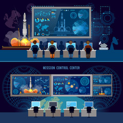 Mission Control Center banner, start rocket in space. Modern space technologies, return report of start of rocket. Space shuttle taking off on mission, spaceport