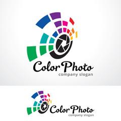 Color Photo Logo Template Design Vector, Emblem, Design Concept, Creative Symbol, Icon