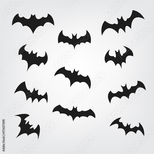 picture regarding Free Printable Halloween Silhouettes titled Traveling bats preset for Halloween. Bat Black silhouette