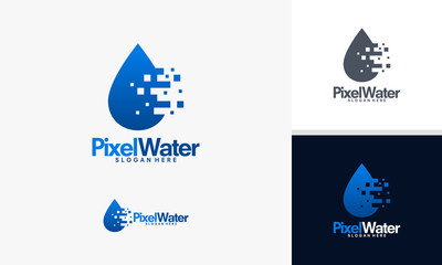 Pixel Water logo designs vector, Technology water logo template