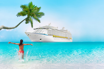 Wall Mural - Cruise ship Caribbean vacation travel beach woman in holiday tropical destination with palm tree and bikini girl swimming enjoying ocean water. Background landscape with copy space on blue sky.