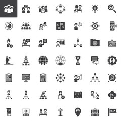 Teamwork and partnership vector icons set, modern solid symbol collection, filled pictogram pack. Signs, logo illustration. Set includes icons as team, conversation, interview, employee, presentation