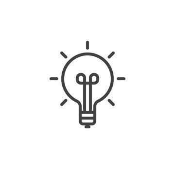 Idea light bulb line icon, outline vector sign, linear style pictogram isolated on white. Symbol, logo illustration. Editable stroke