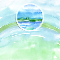 Watercolor logo, advertisement, poster, background. Ecological drawing, earth, water, sea, sky, air. Blue, green, an adherent stain, a fashionable illustration with a round element