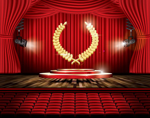 Red Stage Curtain with Spotlights, Seats and Golden Laurel Wreath.