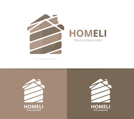 Vector of real estate logo combination. House and building symbol or icon. Unique rent and architecture logotype design template.