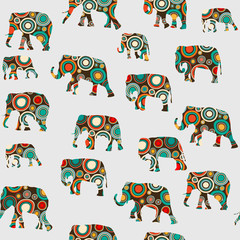 Abstract colorful pattern with elephants