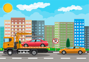 Tow truck. City road side assistance service.