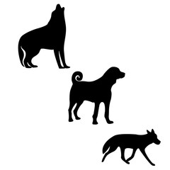 Three silhouettes of logo animals