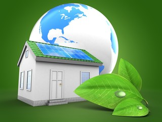3d green house with world globe