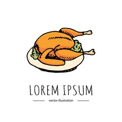 Hand drawn doodle Thanksgiving roasted turkey icon. Vector illustration autumn holiday symbol collection. Cartoon celebration element: hot baked turkey on the plate, cranberry  sauce, fried chicken.