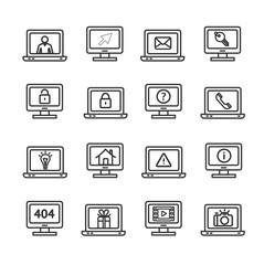 Computer Screen Symbols with Signs Black Thin Line Icon Set. Vector