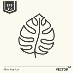 Thin line icon series - tropical leaf