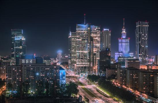 Warsaw downtown at night, Poland. Polish capital