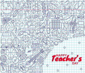 Happy Teachers Day background. Greeting card. Vector illustration