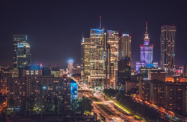 Warsaw downtown at night, Poland. Vintage colors