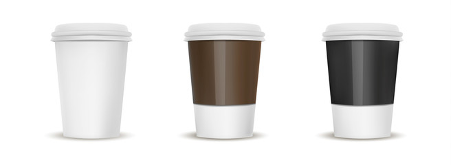Set paper cup mock up for hot drink on the background of coffee beans
