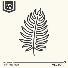 Thin line icon series - tropical leaf