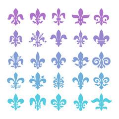 Fleur de lis symbols set.