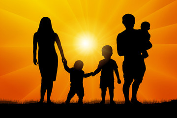 Large family at sunset silhouette vector