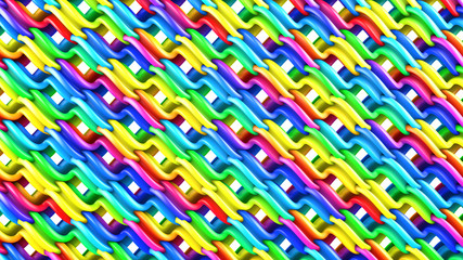 Bright colorful grid 3D rendering