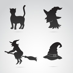 Halloween icons on white background. Vector art.