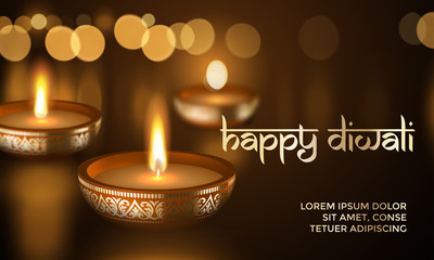 Happy Diwali gold candle light Indian greeting card vector lettering text