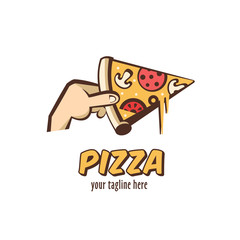 Logo vector Italian pizza. A slice of hot pizza with mushrooms, sausage, tomatoes and cheese in hand. Vector illustration in cartoon style.