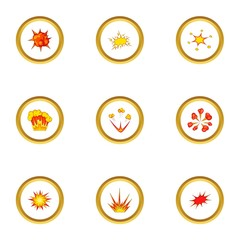 Different explosion icons set, cartoon style