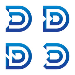 Abstract clean blue letter D design set logo template. vector illustration.