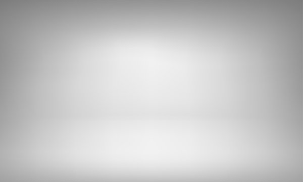 White studio background with spotlight gradient for premium, luxury product shooting. Vector white clean light room with empty floor backdrop