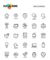 Flat line icons design-Basic and Universal