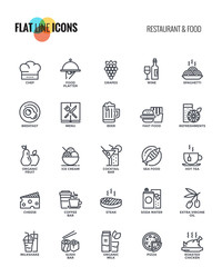 Flat line icons design-Restaurant and food