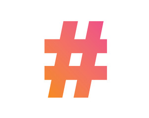 vector gradient pink to orange hashtag symbol icon.