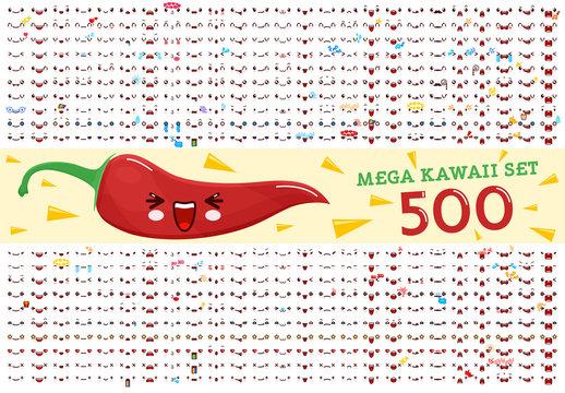 500 Mega set of cute kawaii emoticon face and chili pepper kawaii. Collection emoticon manga, cartoon style. Vector illustration. Adorable characters icons design