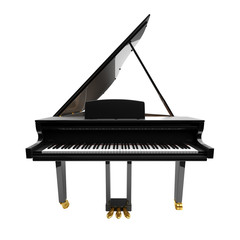 Black glossy musical instrument - acoustic piano.