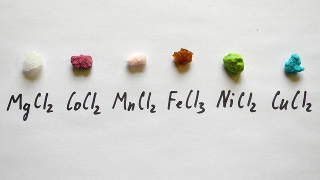 Chloride magnesium Chloride cobalt chloride manganese chloride ferric Nickel, copper