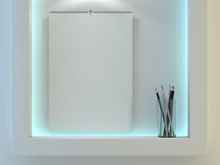Blank design calendar template with open cover with soft shadows. 3D rendering