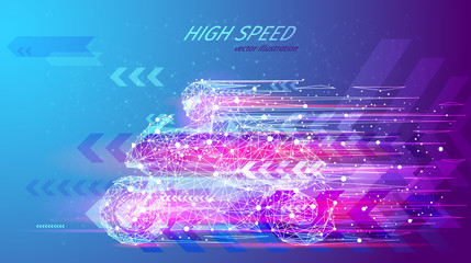 High speed concept. Sport motorbike in the form of a starry sky or space, consisting of points, lines, and shapes in the form of planets, stars and the universe. Sport vector wireframe concept
