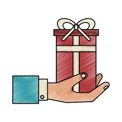 gift box whit banner bow vector icon illustration graphic design