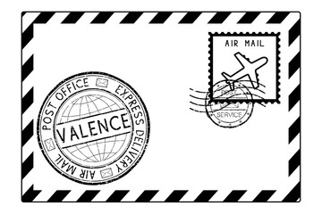 Envelope black icon with postmarks. VALENCE, Italy