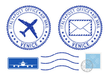 Postmarks VENICE and stamps. Blue postal elements