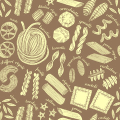 Dark Pasta Seamless Pattern. Different Pasta Shapes in Hand Draw
