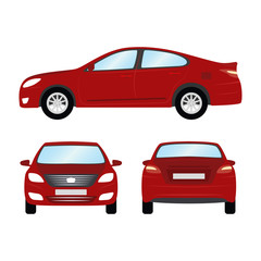 Car vector template on white background. Business sedan isolated. red sedan flat style. side back front view